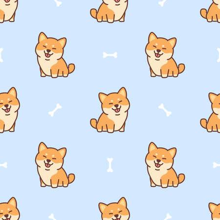 Cute shiba inu dog cartoon seamless pattern, vector illustration 矢量图像