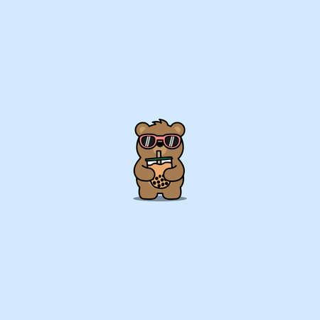 Cute bear with sunglasses drinking bubble tea cartoon, vector illustration