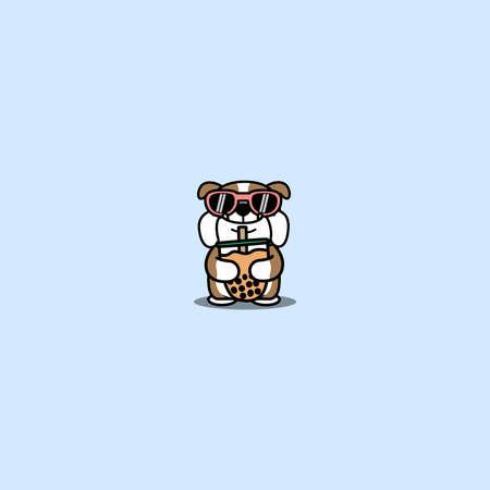 Cute english bulldog with sunglasses hugging bubble tea cartoon, vector illustration
