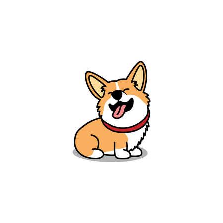 Funny welsh corgi dog sitting and smiling cartoon, vector illustration