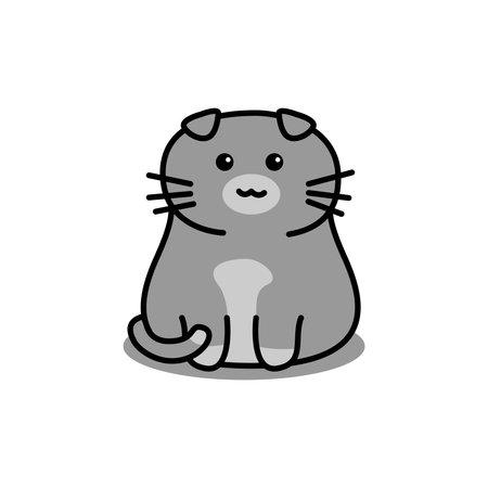 Cute gray scottish fold cat cartoon, vector illustration