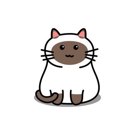 Cute siamese cat cartoon, vector illustration