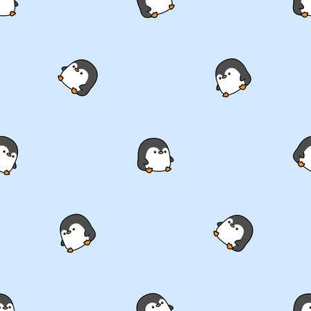 Cute fat penguin cartoon seamless pattern, vector illustration Vectores