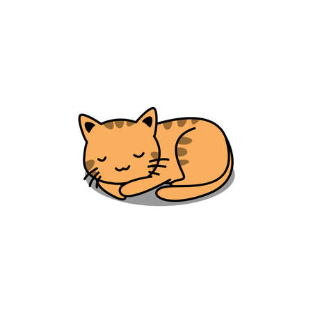 Cute orange cat sleeping cartoon, vector illustration Vectores