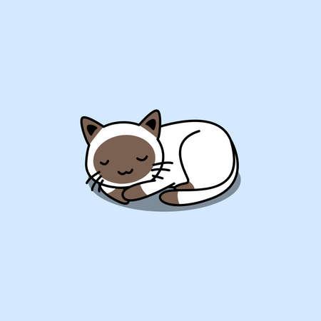 Cute siamese cat sleeping cartoon, vector illustration