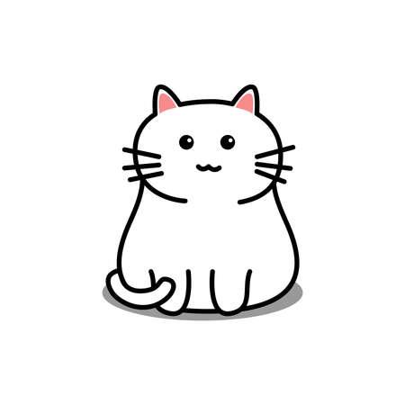 Cute white cat cartoon, vector illustration