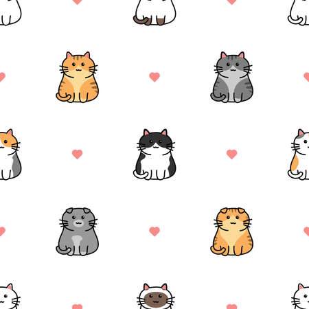 Cute cat with heart cartoon seamless pattern, vector illustration Vectores