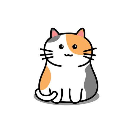 Cute three color cat cartoon, vector illustration