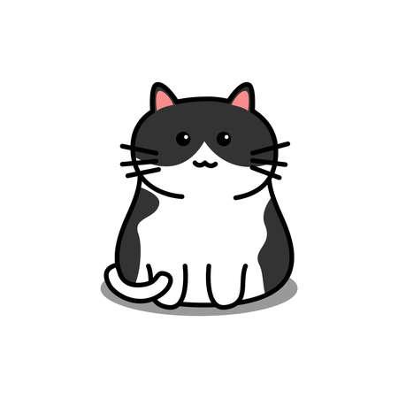 Cute black and white cat cartoon, vector illustration
