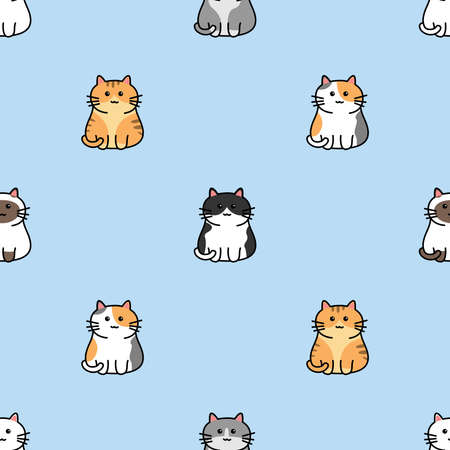 Cute cat cartoon seamless pattern, vector illustration