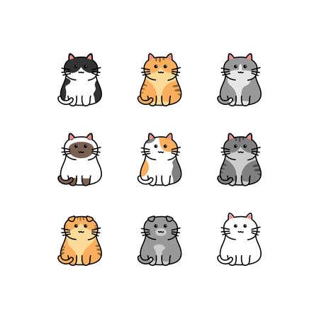 Cute cat cartoon collection, vector illustration