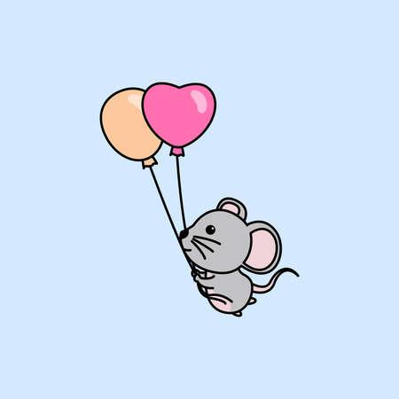 Cute mouse holding balloons cartoon, vector illustration