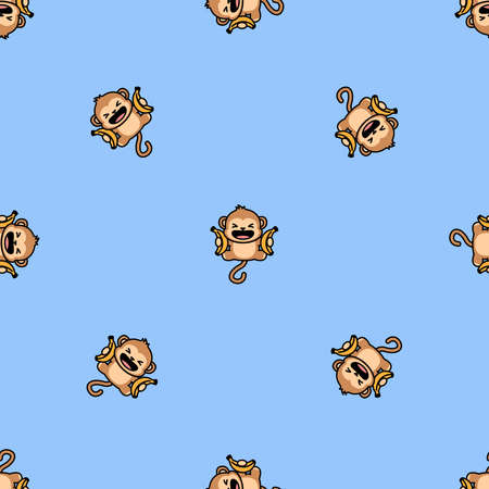 Funny monkey with banana jumping cartoon seamless pattern, vector illustration Vectores