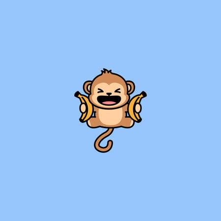 Funny monkey with banana jumping cartoon, vector illustration