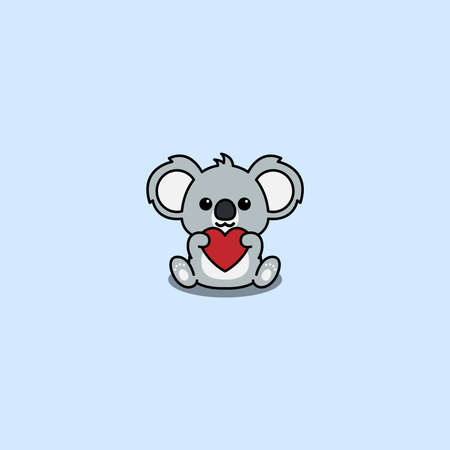 Cute koala holding red heart shaped cartoon, vector illustration