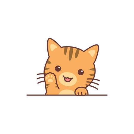 Cute orange cat waving paw cartoon, vector illustration