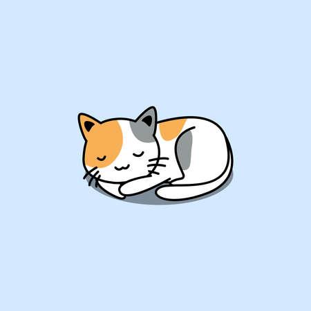 Cute three color cat sleeping cartoon, vector illustration Vectores