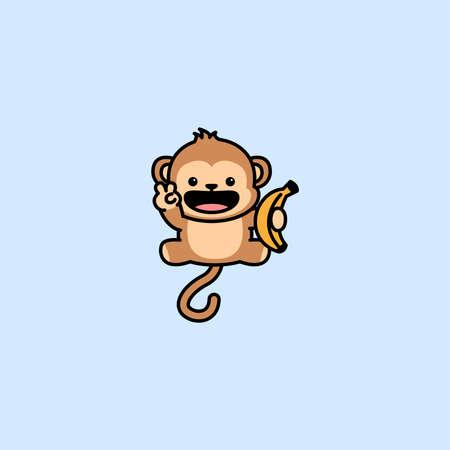 Cute monkey holding banana cartoon, vector illustration Vectores