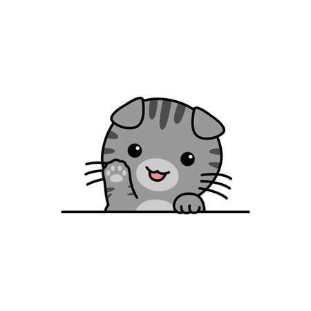 Cute scottish fold cat waving paw cartoon, vector illustration