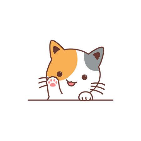 Cute three color cat waving paw cartoon, vector illustration