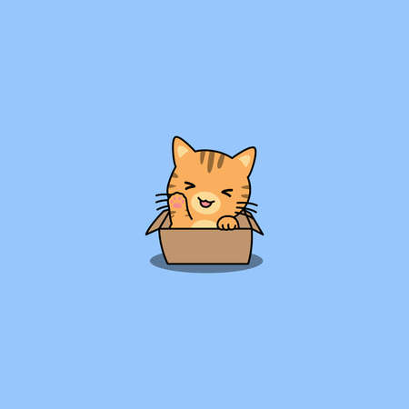 Cute orange cat waving paw in the box cartoon, vector illustration Vectores