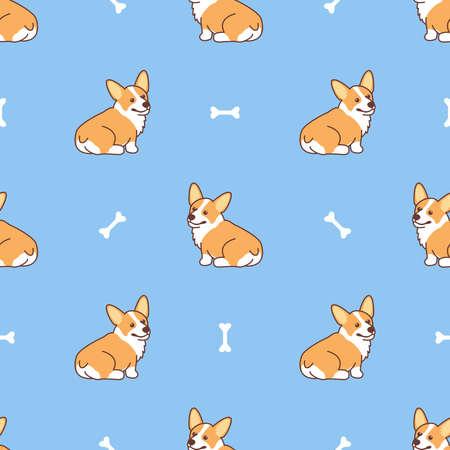 Cute corgi dog sitting cartoon seamless pattern, vector illustration Vectores
