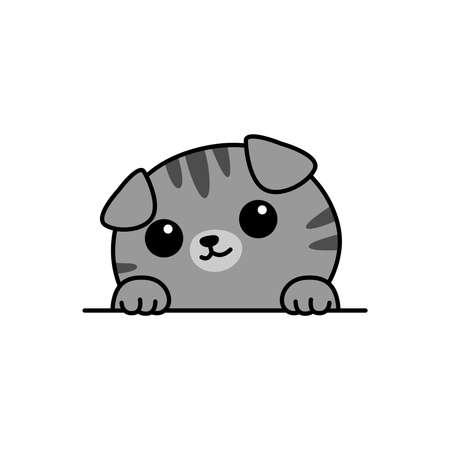 Cute gray scottish fold cat paws up over wall cartoon, vector illustration