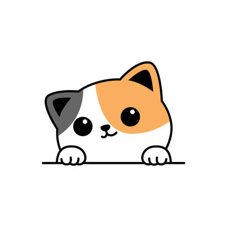 Cute three color cat paws up over wall cartoon, vector illustration