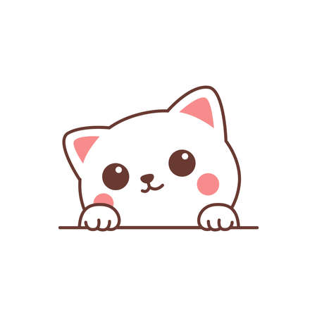 Cute white cat paws up over wall cartoon, vector illustration