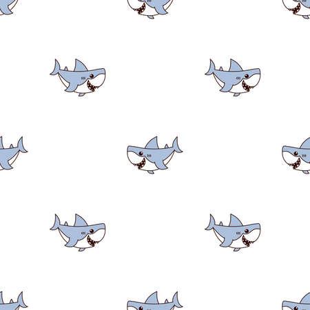 Cute shark cartoon seamless pattern, vector illustration