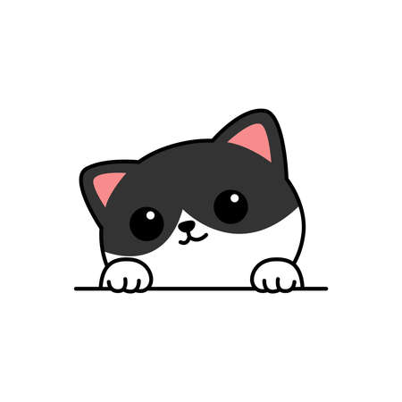 Cute cat paws up over wall cartoon, vector illustration Vectores