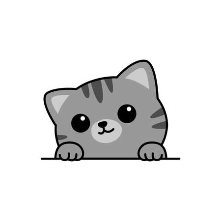Cute gray cat paws up over wall cartoon, vector illustration Vectores