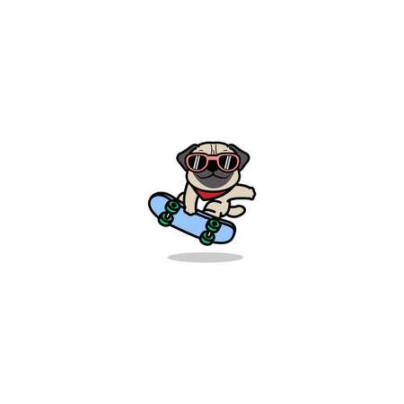 Cute pug dog playing skateboard cartoon, vector illustration Vectores