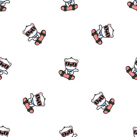 Cute polar bear playing skateboard cartoon, vector illustration Vectores