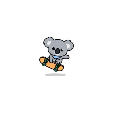 Cute koala playing skateboard cartoon, vector illustration Vectores