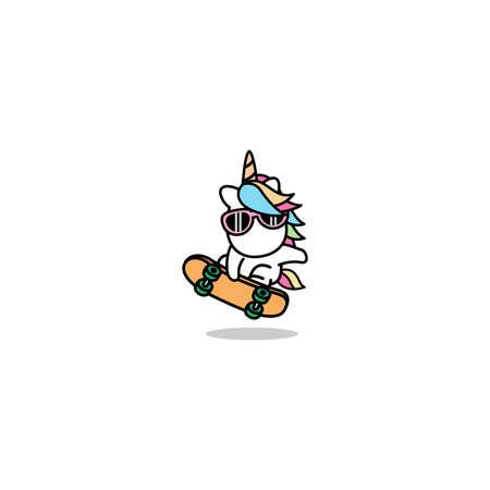 Cute unicorn playing skateboard cartoon, vector illustration