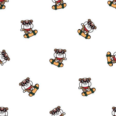 Cute bulldog dog playing skateboard cartoon seamless pattern, vector illustration