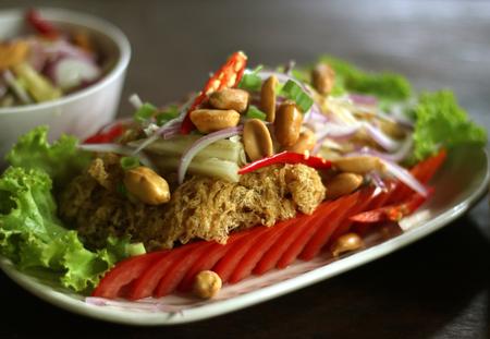 pla: Traditional Thai food, fried, spicy, minced catfish salad, yam pla duk foo
