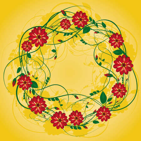 spring bed: wreath of red flowers with buds and leaves on golden yellow background Illustration