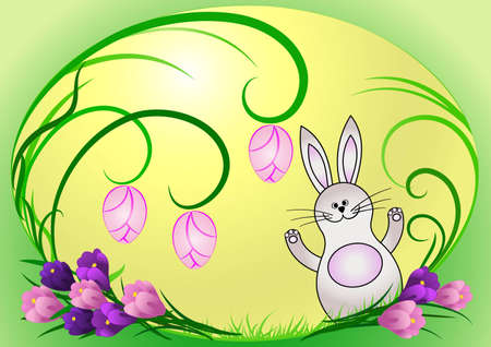 Easter egg painted with it the Christmas rabbit and blades of grass, spring crocus beside him Vector