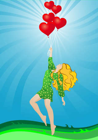 A girl in a beautiful dress flying in hot air balloons in the shape of a heart on a background of green grass and sky Illustration