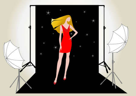 vector illustration of a pretty girl model in a red dress in the studio for photo shoot