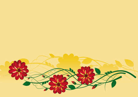 Red flowers with buds and leaves on golden yellow background