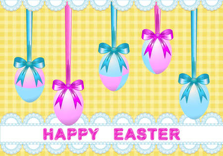 Easter decor of painted eggs for ribbons and the lace in pastel colors