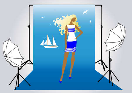 vector illustration of a pretty girl model  in the studio for photo shoot in marine style Vector