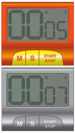two convenient household timer in different colors red and silver