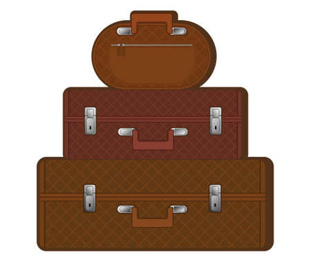 a set of classic road suitcases and bags in the same style Illustration