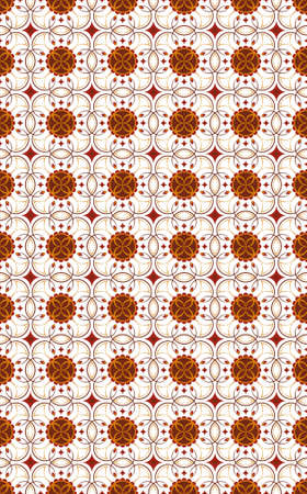 background seamless wallpaper- graphic flower terracotta on a white