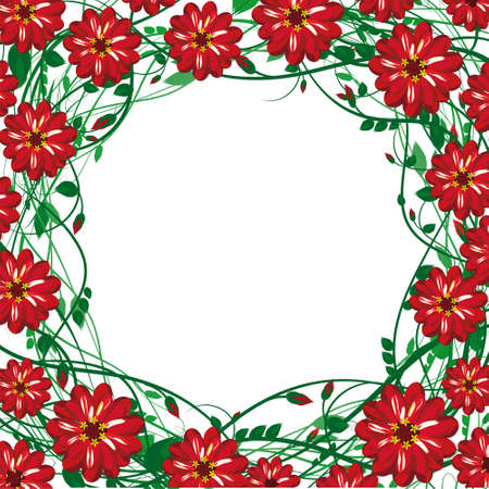 vector  frame of the beautiful red detailed flowers, buds, leaves, flexible twigs, with space for installation of text or image, isolated on white Illustration