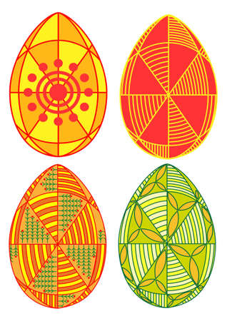 Easter egg with a traditional pattern in different colors